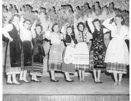 Russian Concert, June 1952 (from l to r) Pauline Kondrat, Anne Kondrat, Mary Kobylar, Dorothy Godfrey, Ann Geleta, Tessie Guba, Dorothy Kondrat, Mary Kondrat